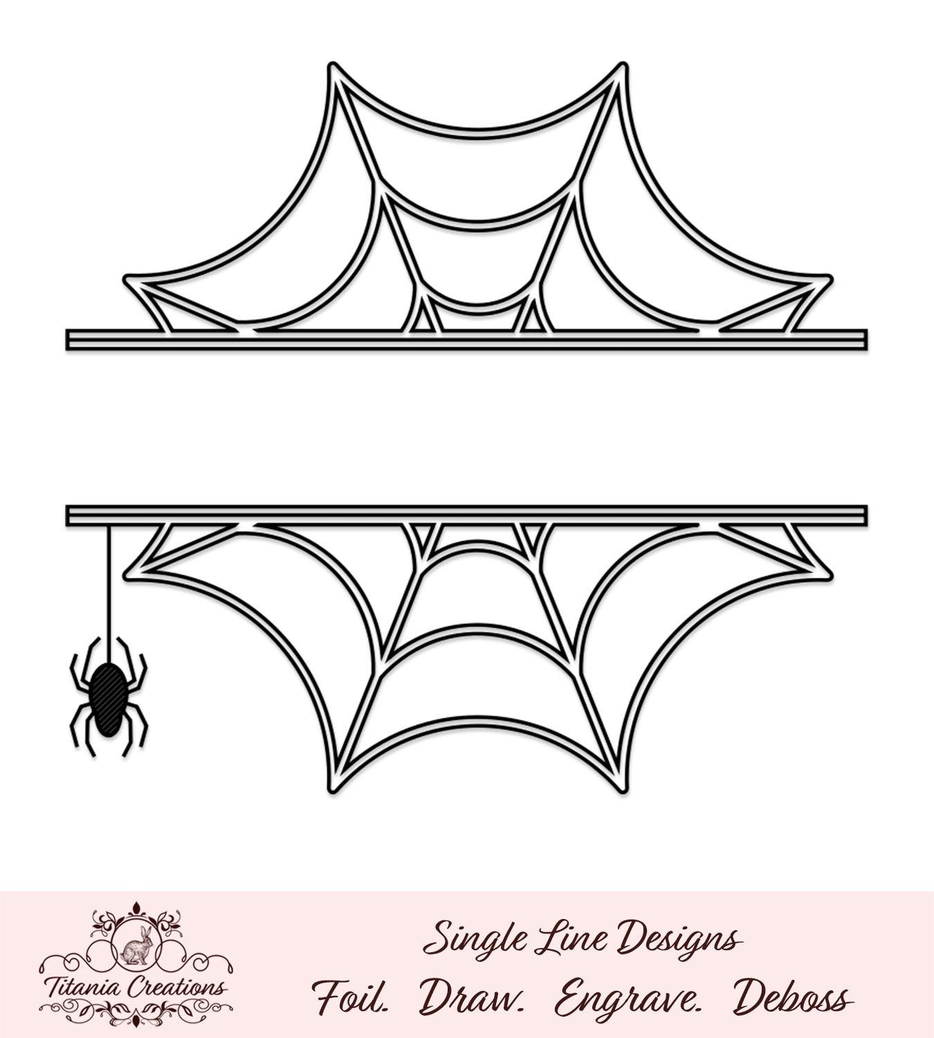 Single Line Split Spider Web Foil Quill Svg