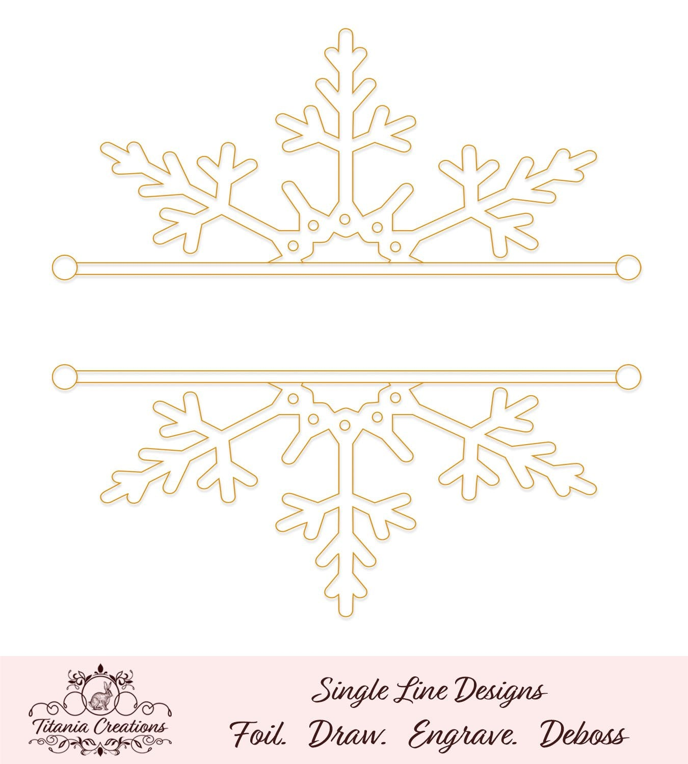 Single Line Split Snowflake Foil Quill Svg