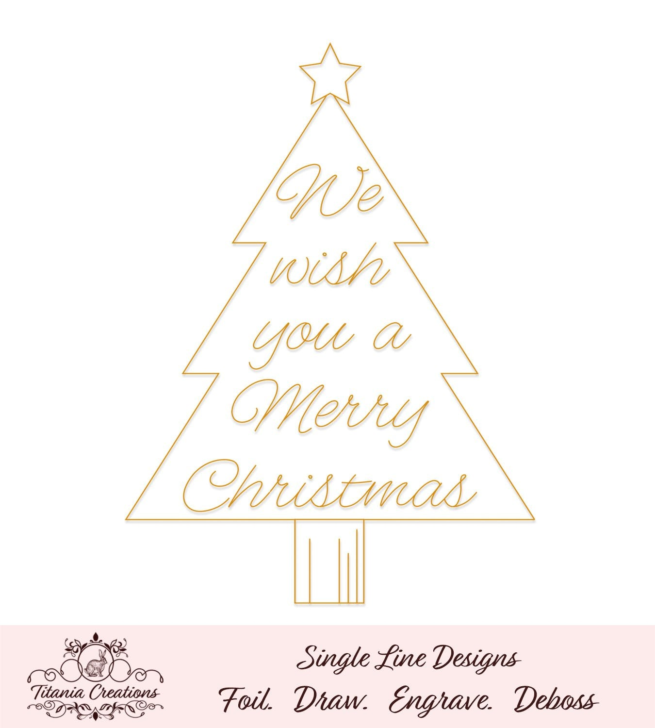 Single Line We Wish You A Merry Christmas Tree Foil Quill Svg Titania Creations