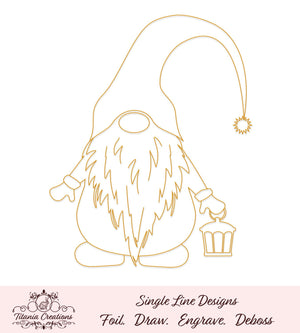 Single Line Gnome With Lantern Foil Quill Svg