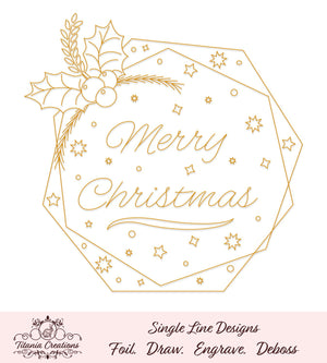 Single Line Christmas Greeting Foil Quill Svg
