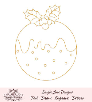 Single Line Christmas Pudding Foil Quill Svg
