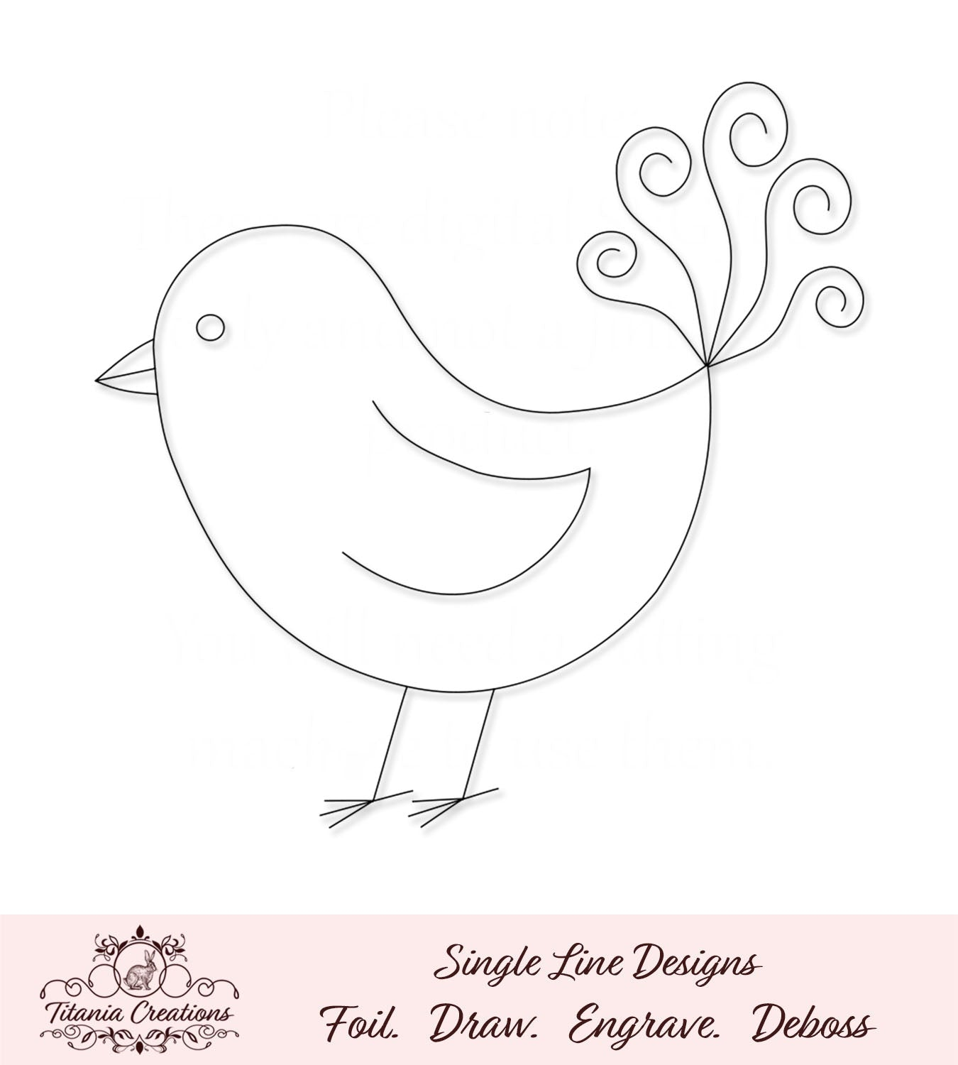 Single Line Fantasy Bird Foil Quill / Sketch SVG