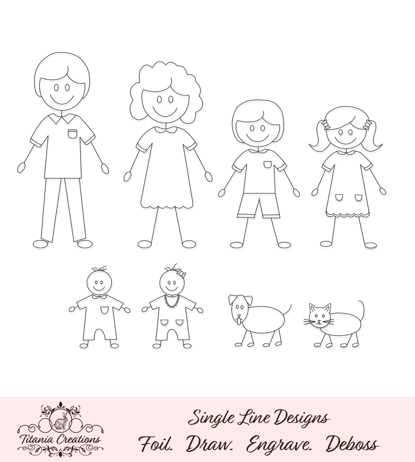 Single Line Stick Family Foil Quill Svg