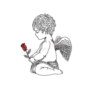 Cherub with Red Rose 4x4 5x7