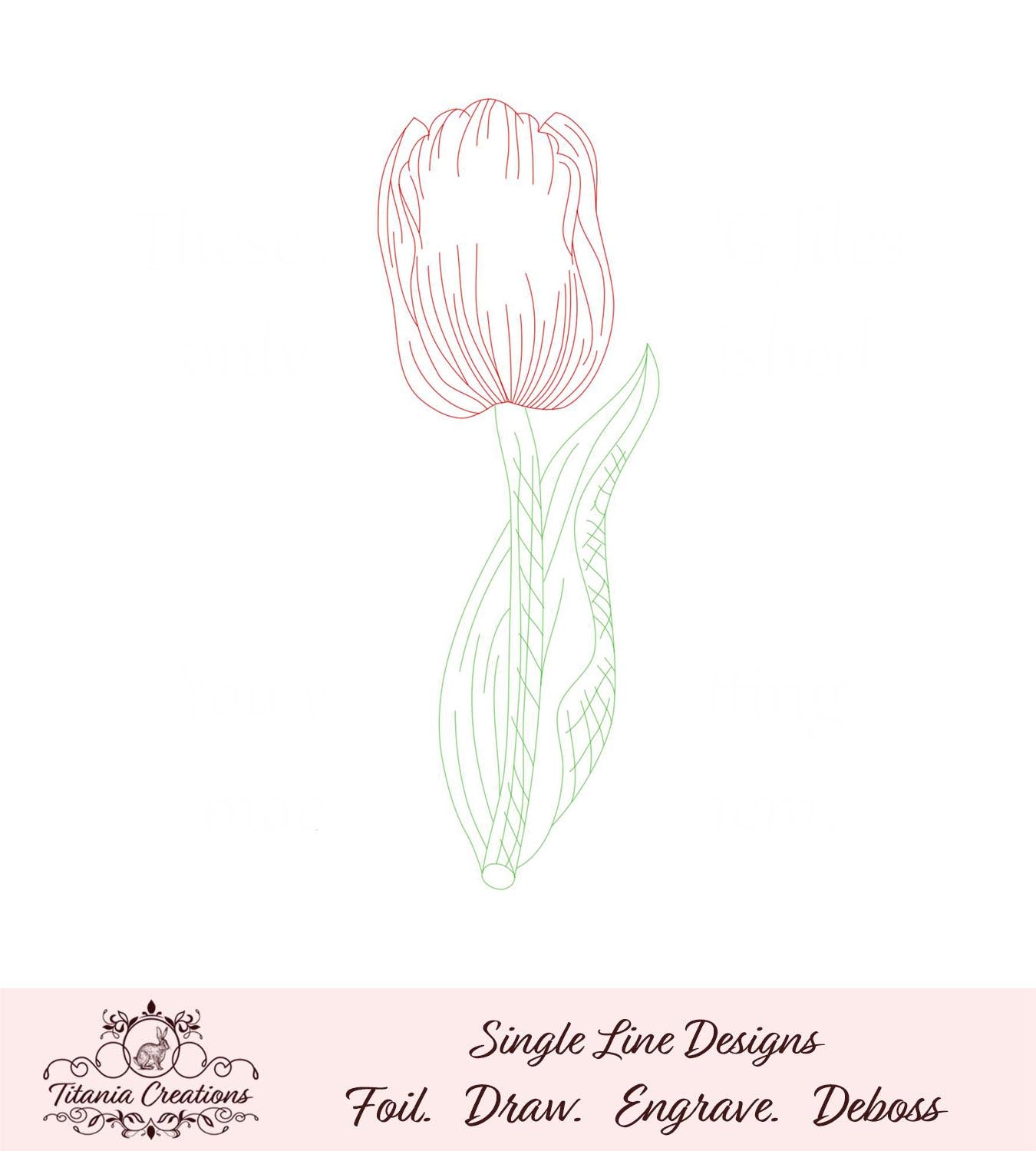 Single Line Sketch Tulip Foil Quill SVG