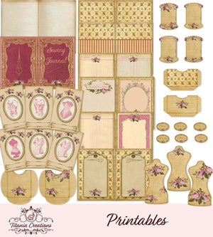 Vintage Roses Sewing Junk Journal Kit Printable