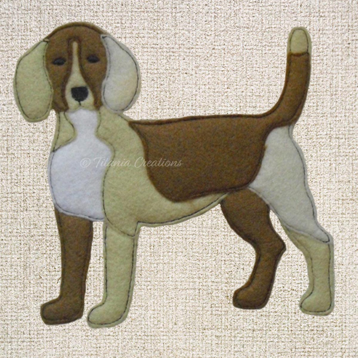 Raw Edge Applique Beagle 5x7 6x10 8x12