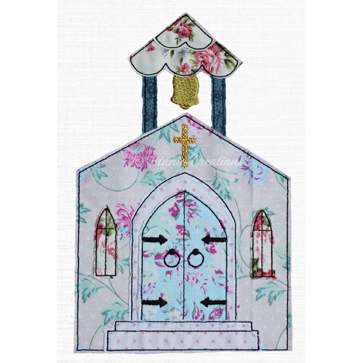 Raw Edge Applique Church 5x7 6x10 8x12