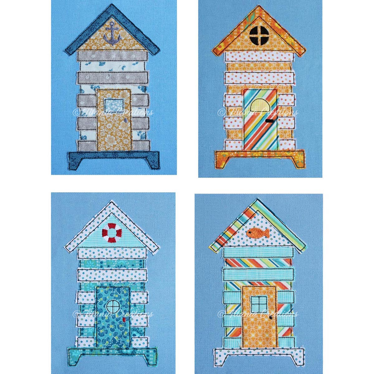 Raw Edge Applique Beach Huts 5x7 Set of Four