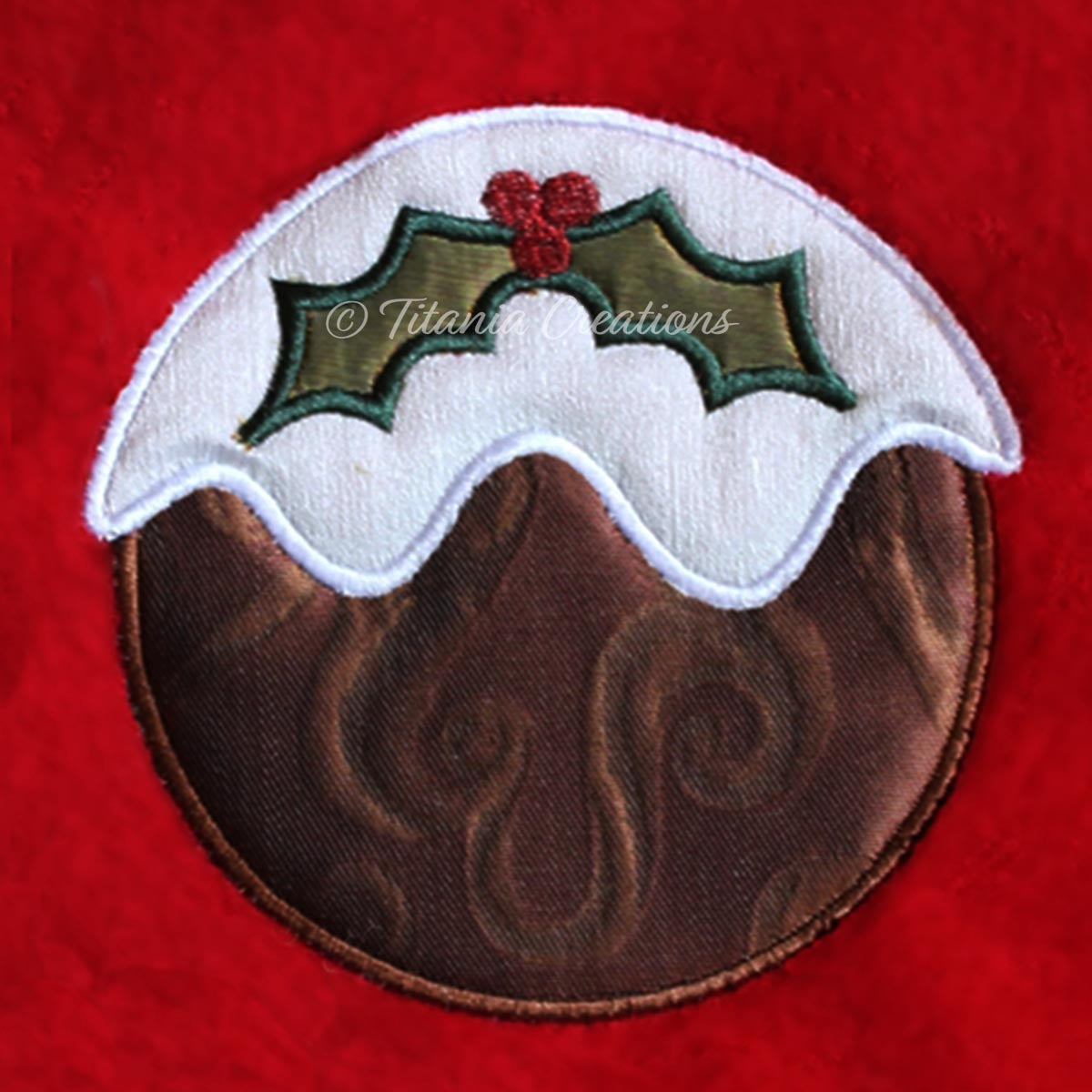 Applique Christmas Pudding 4x4 5x7 8x8
