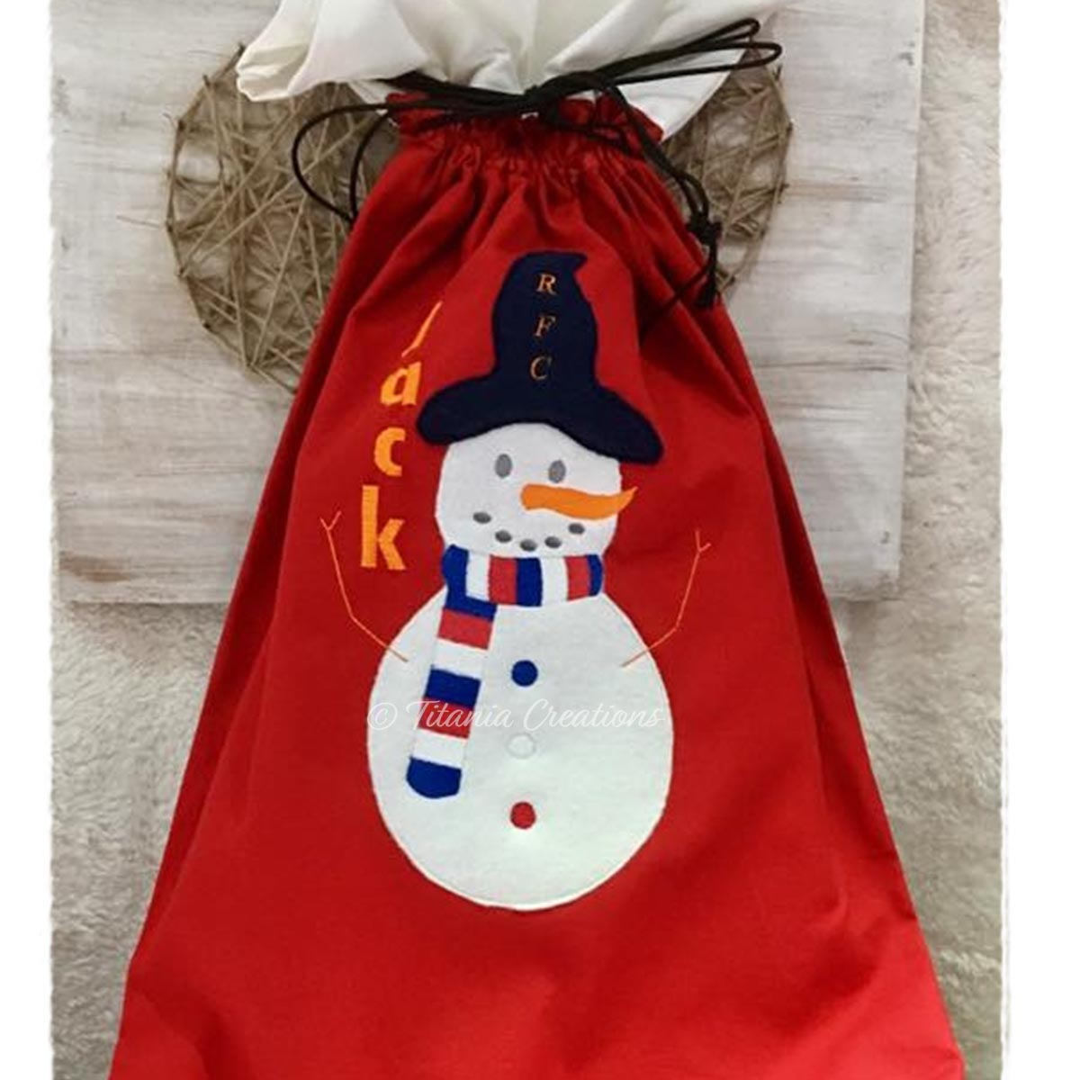 Raw Edge Applique Snowman 5x7 6x10 7x12 8x12