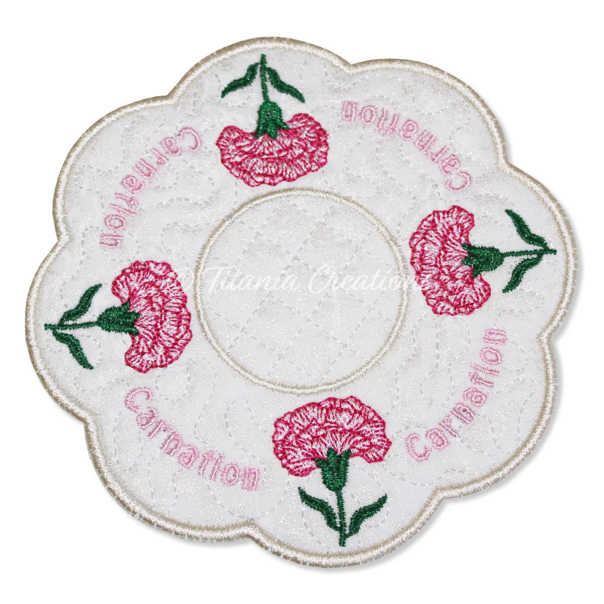 ITH Carnation January Flower Candle Mat 5x5 6x6 7x7 8x8