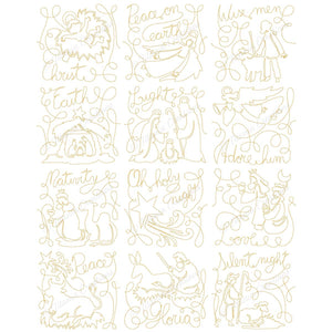 Set of 12 Continuous Line Nativity 4x4 5x5 6x6 7x7 8x8