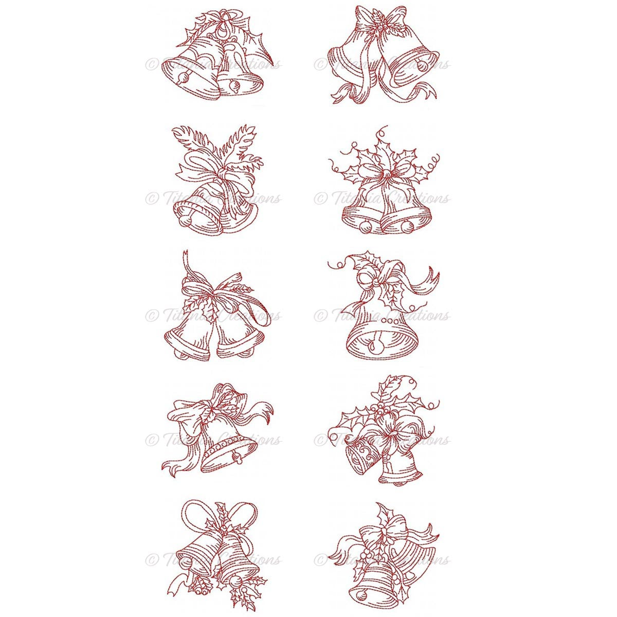 Elegant Christmas Bells 4x4 Set of 10