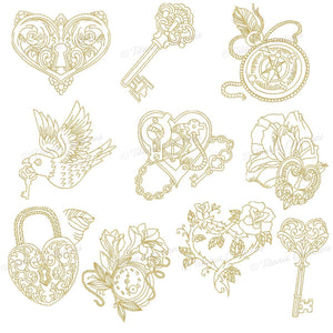 Embellishments in Gold. Set of 10 Designs. Includes 4x4 & 5x7