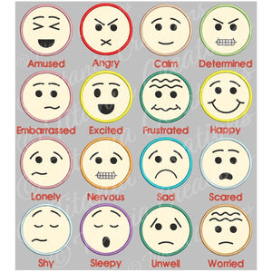 Applique Emotion Faces 4x4 Set of 16