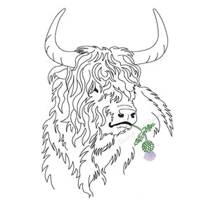 Highland Cattle with Thistle 5x7, 6x10, 8x12