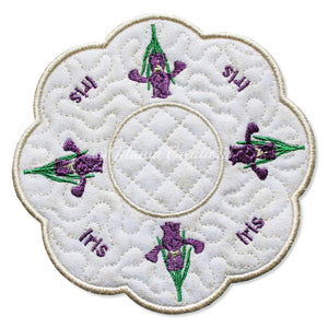 ITH Iris February Flower Candle Mat 5x5 6x6 7x7 8x8