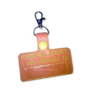 ITH Medical Alert Allergy Key Fob 4x4