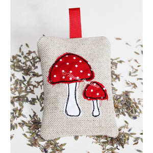 ITH Applique MUSHROOMS Lavender Sachet 4x4