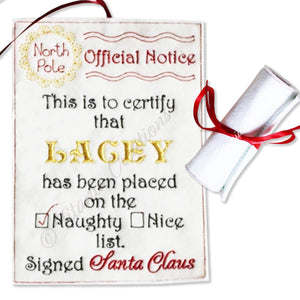 ITH Official Notice Scroll from Santa NAUGHTY List 5x7