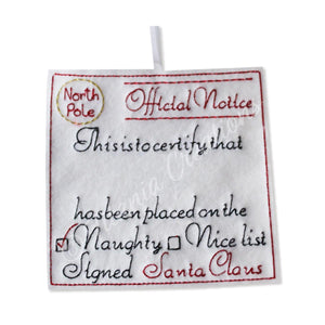 ITH Official Notice Scroll from Santa NAUGHTY List 4x4