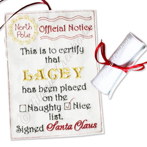 ITH Official Notice Scroll from Santa NICE List 5x7