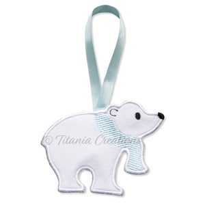 ITH Polar Bear Hanger with Satin Edge 5x7