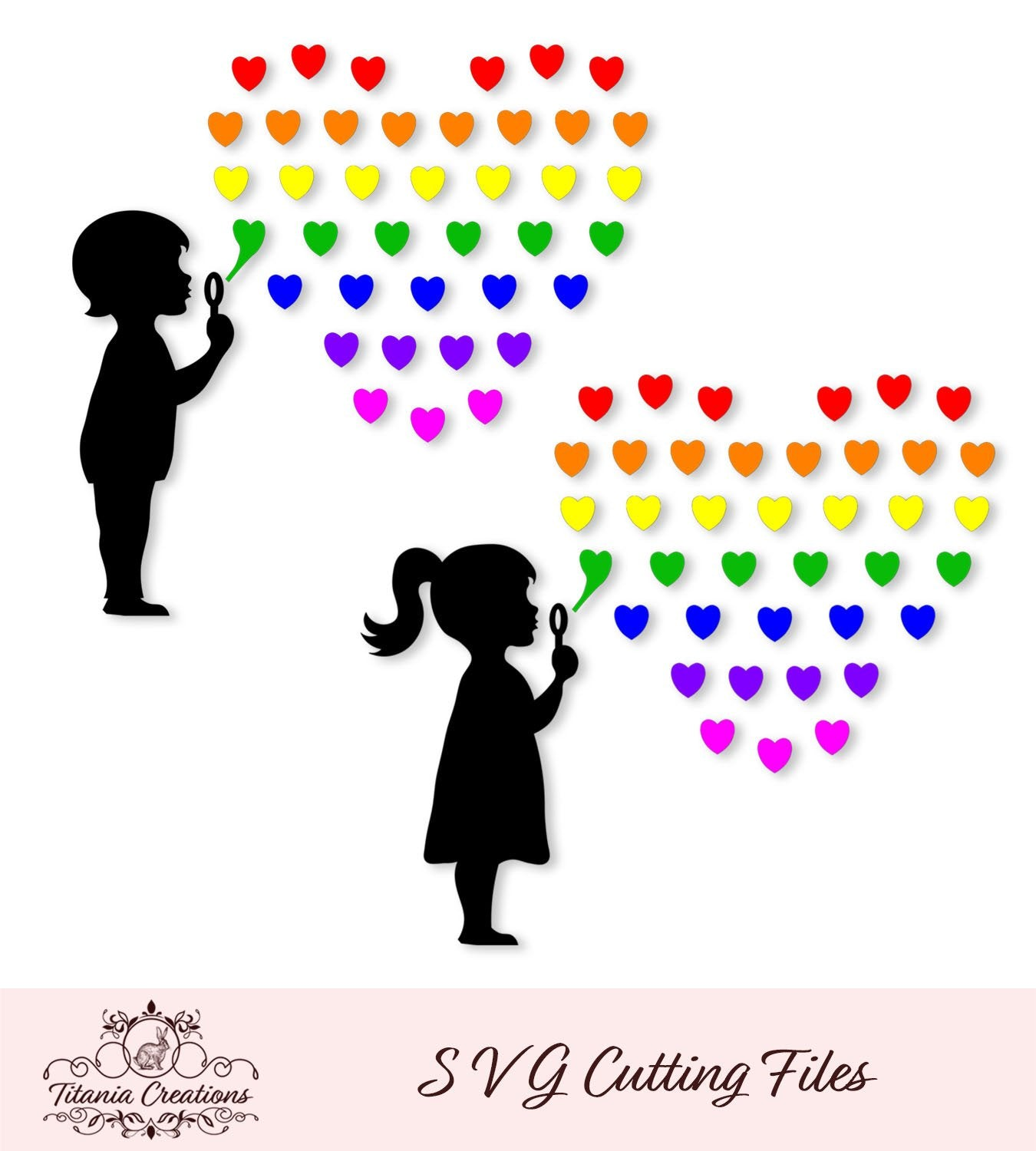 Rainbow Bubble Heart Svg Vinyl