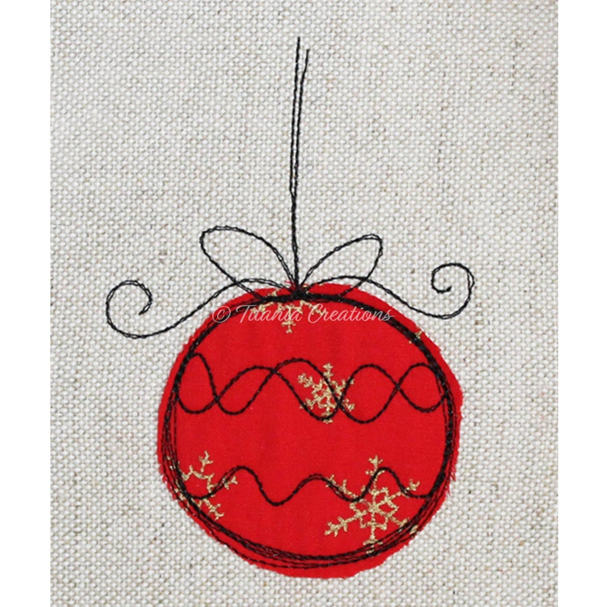 Raw Edge Applique Bauble 4x4 5x7