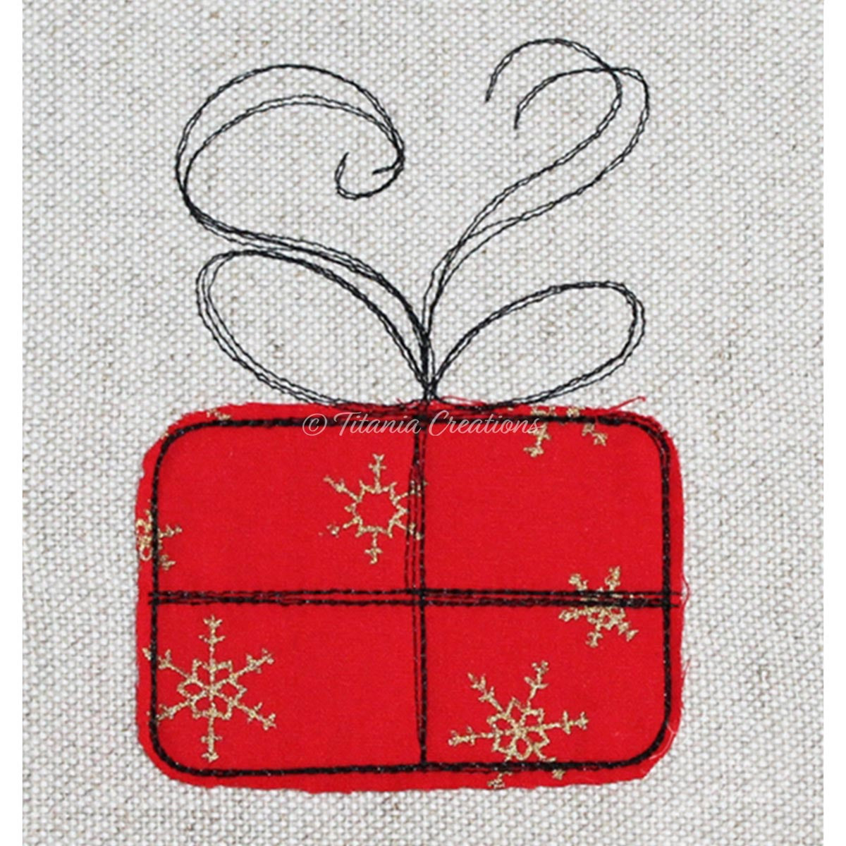 Raw Edge Applique Gift 4x4 5x7
