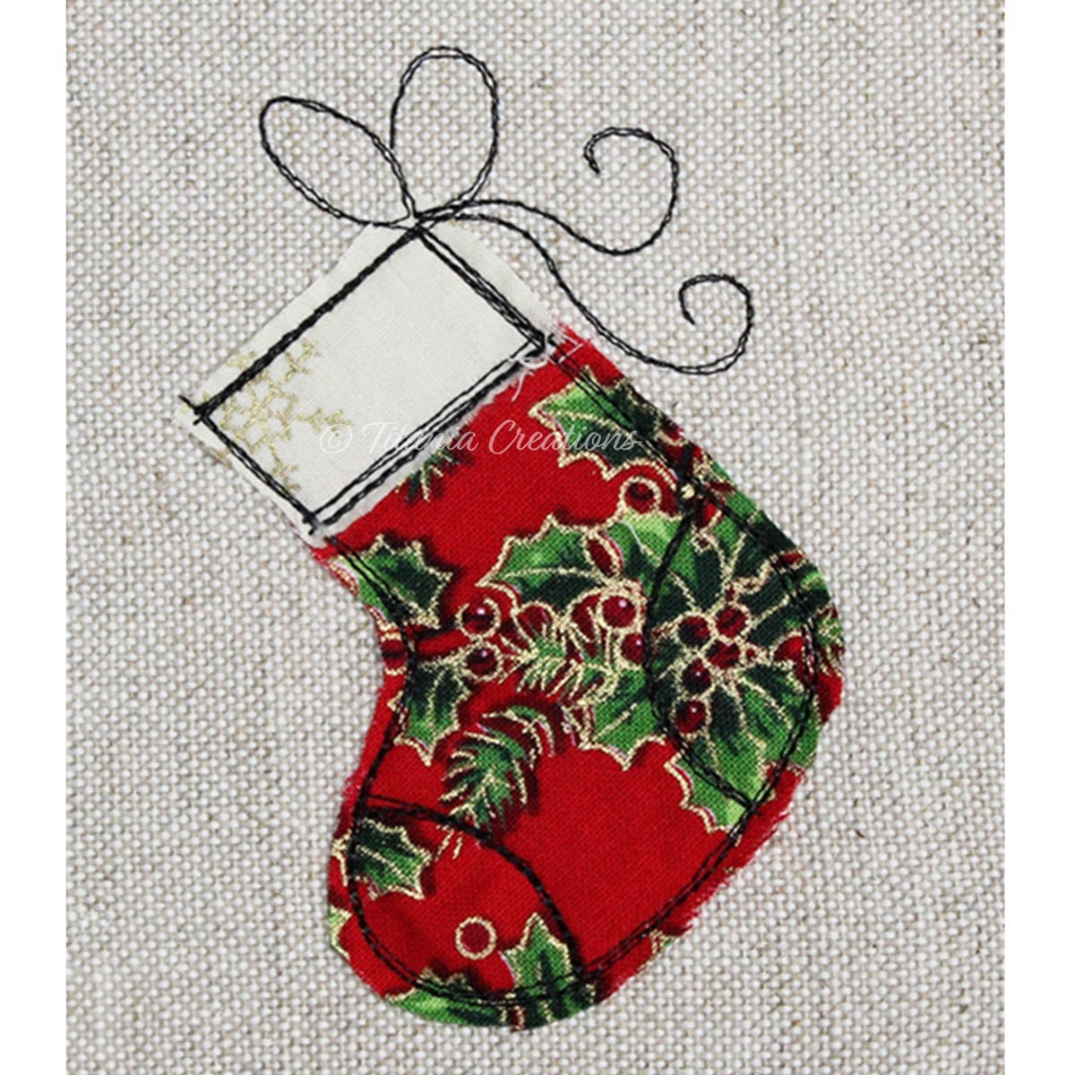 Raw Edge Applique Stocking 4x4 5x7