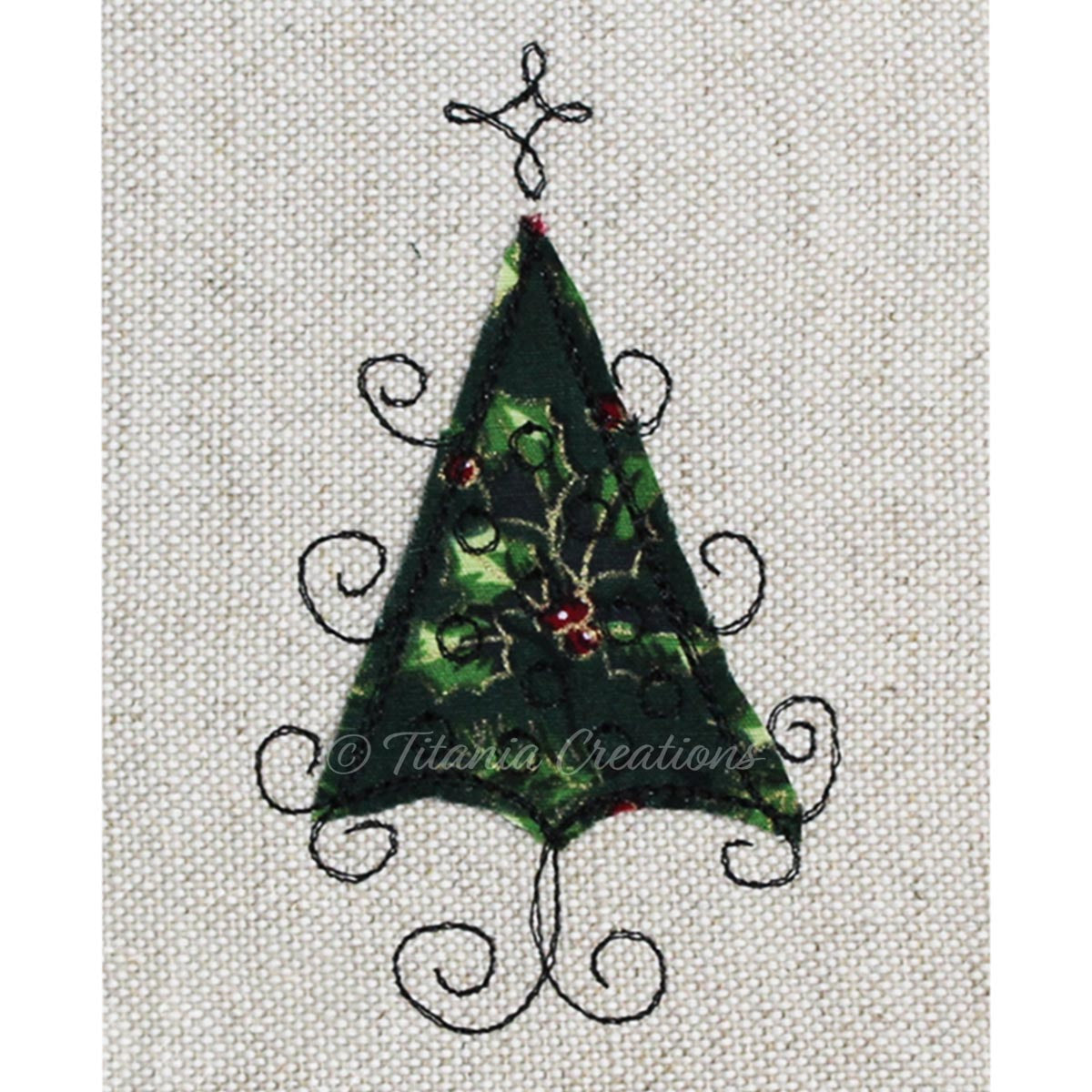 Raw Edge Applique Christmas Tree 4x4 5x7