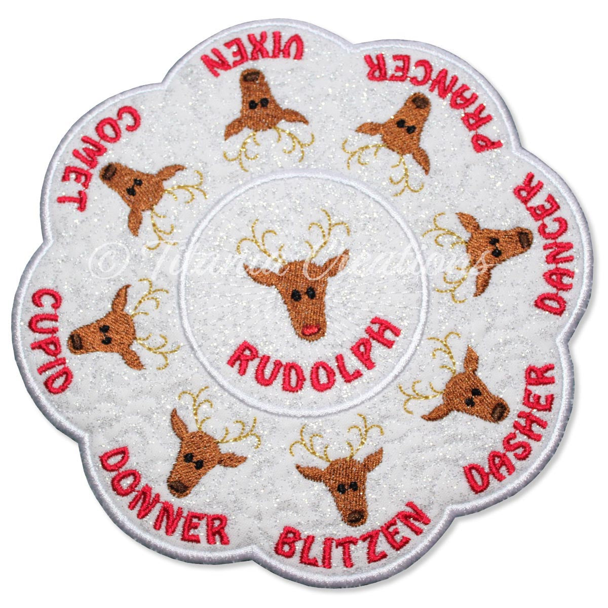 ITH Reindeer Table Candle Mat 5x5 6x6 7x7 8x8