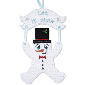ITH Snowman With Banner 4x4 5x7