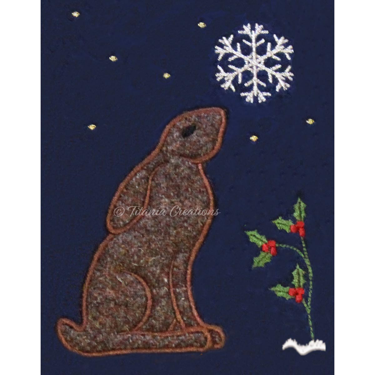 Winter Hare Applique 5x7 6x10 7x11 8x12