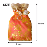 Pink Shiny Brocade Coin Gifting Pouch - Set of 2