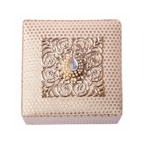 Cream Brocade Earrings/Bracelet Box