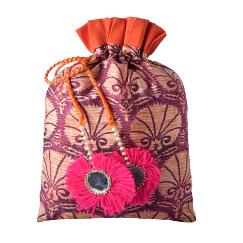 Print Pouch With Mirror Tassle