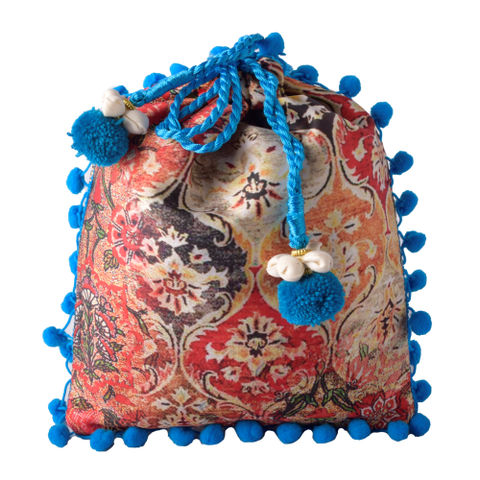 Silk Print Pouch with Pom Pom Lace