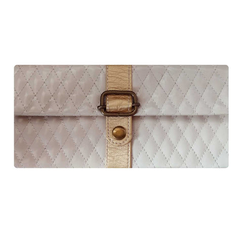 Quilted Leather Strap Style Envelope
