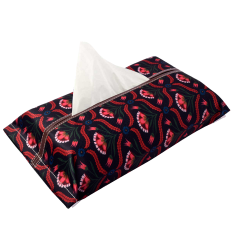 Black Flower Tissue Box Cover