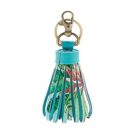 Tropical Flowers Keychain/Purse Hanging Tassle Style
