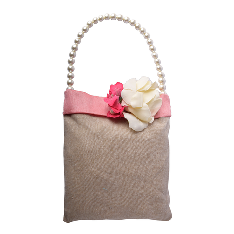 Peach Jute Fabric Bag   CHECKED