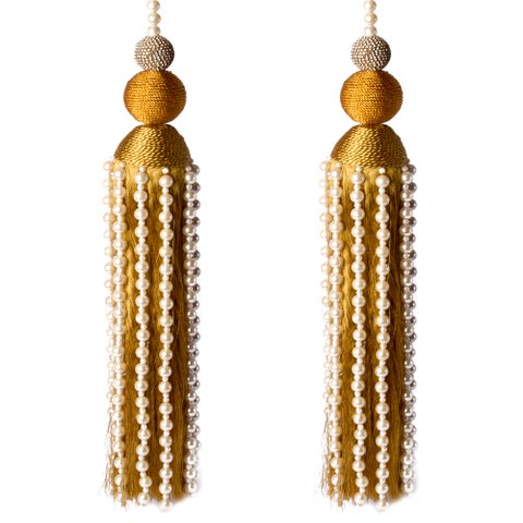 Gold Thread and Pearl Tassel - Set of 2