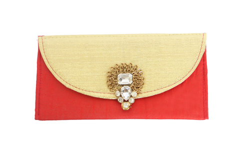 Heavy Jadau Broach Fabric Envelope Red