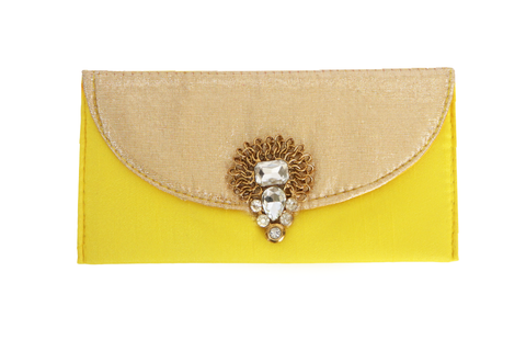 Heavy Jadau Broach Fabric Envelope Yellow