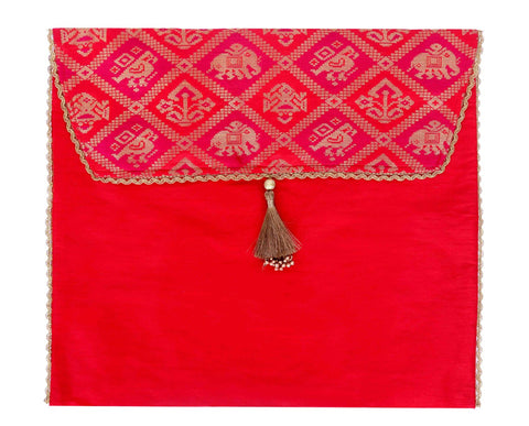 Brocade Sari/ Outfit Gifting Cover - Red