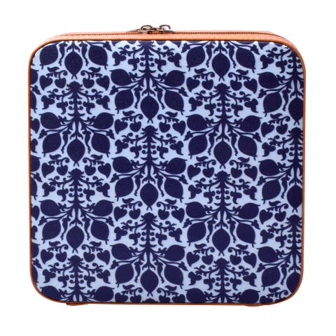 Blue Ikat Jewellery Case Square